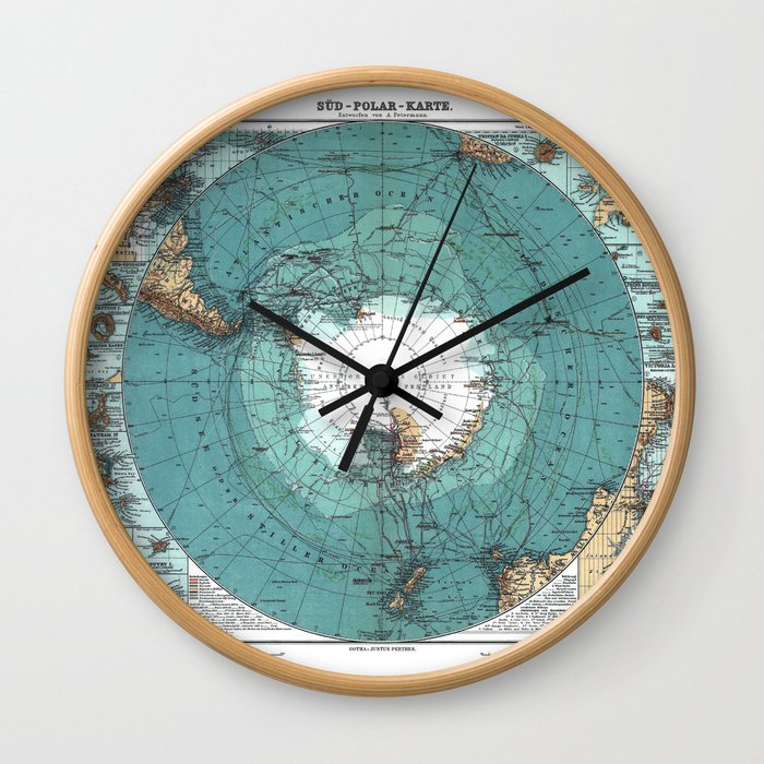 Antarctica Vintage map Wall Clock