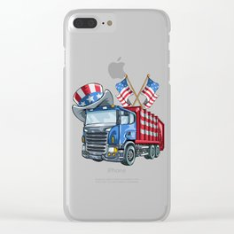 Garbage Truck on 4th Of July Clear iPhone Case