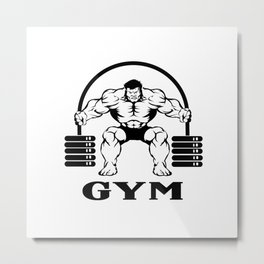 Bodybuilder with barbell Metal Print