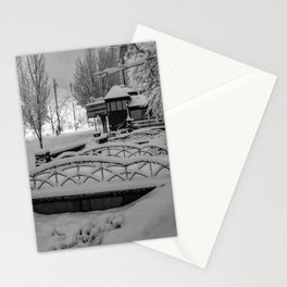 Snowy night in a little town. Stationery Cards