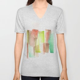 [161228] 15. Abstract Watercolour Color Study  |Watercolor Brush Stroke Unisex V-Neck