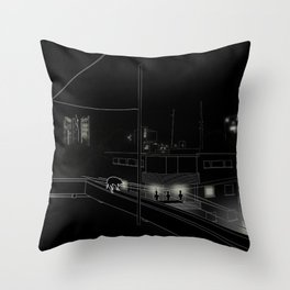 Dog on the roof Throw Pillow
