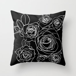 Feminine and Romantic Rose Pattern Line Work Illustration on Black Throw Pillow
