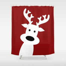 Reindeer on red background Shower Curtain