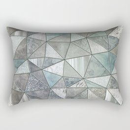 Teal And Grey Triangles Stained Glass Style Rectangular Pillow