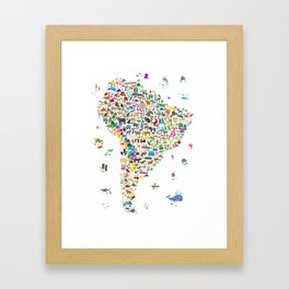 Animal Map of South America for children and kids Framed Art Print