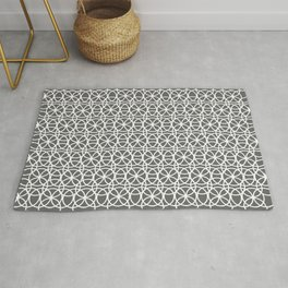 Pantone Pewter and White Rings Circle Heaven, Overlapping Ring Design Rug