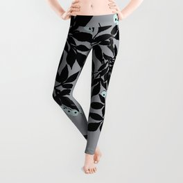 TREE BRANCHES BLACK AND GRAY WITH BLUE BERRIES Leggings