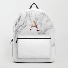Monogram rose gold marble A Backpack