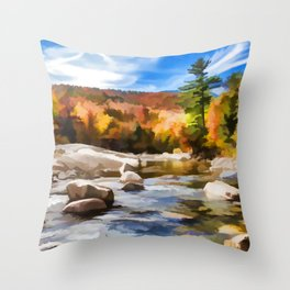 Saco River Painting Throw Pillow