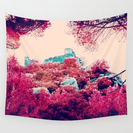 Alien planet castle pink bright green forest Wall Tapestry