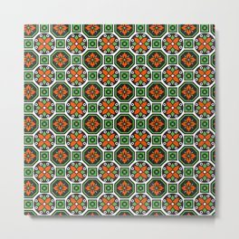 Orange and Green Winter Pattern Metal Print