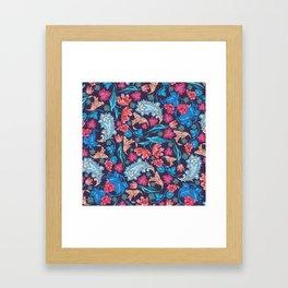 Elegant Asian Floral Pattern of Health and Wealth Framed Art Print