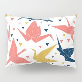 Japanese Origami paper cranes, symbol of happiness, luck and longevity, blue coral mustard Pillow Sham