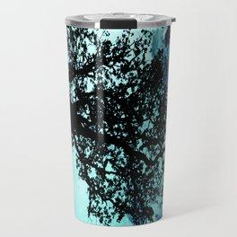 Black Trees Elegant Aqua Space Travel Mug
