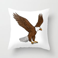 Bald Eagle Flying Drawing Throw Pillow