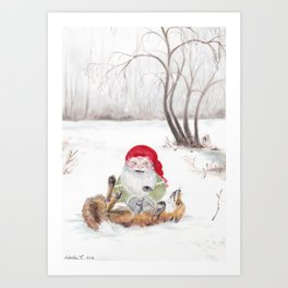 The gnome and his friend the fox - Christmas Art Print