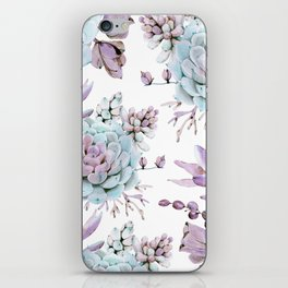 Turquoise and Violet Succulents iPhone Skin