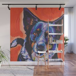Australian Cattle Dog Portrait blue heeler colorful Pop Art Painting by LEA Wall Mural