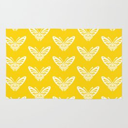 Butterfly Pattern Yellow Rug
