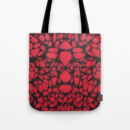 Black on red, organic abstraction Tote Bag