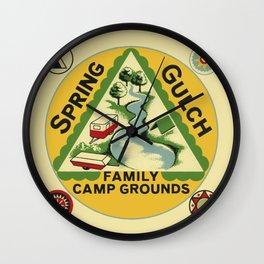 Vintage Retro Camping Spring Gulch Wanderlust Wall Clock