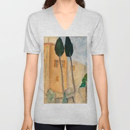 """Amedeo Modigliani """"Cypresses and Houses at Cagnes (Cyprès et maisons à Cagnes)"""" Unisex V-Neck"""