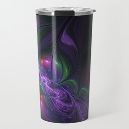 Purple Creek, Abstract Colorful Fractal Art Travel Mug