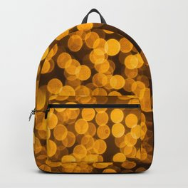 Gold Glitter Sparkle Bokeh Blurred Lights Shimmer Shiny Dots Spots Circles Out Of Focus Backpack