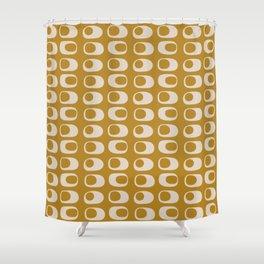 Googie Midcentury Minimalist Pattern in Gold Shower Curtain
