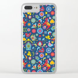 Swedish Folk Art Garden Clear iPhone Case