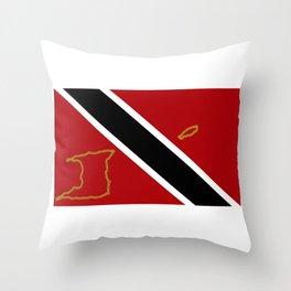 Trinidad and Tobago Flag with Island Maps Throw Pillow