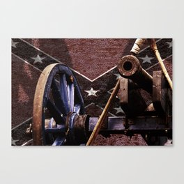 Confederacy Cannon And Flag Canvas Print