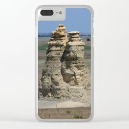Castle Rock with blue sky Clear iPhone Case