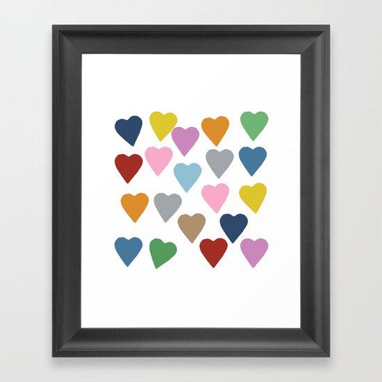 Hearts Colour Framed Art Print