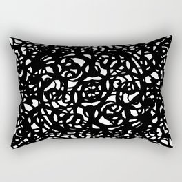 Black and White Abstract Intricate Print Rectangular Pillow