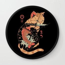 Carp Tattooed Cat Wall Clock