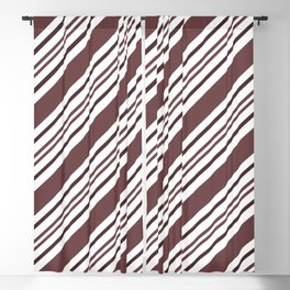 Pantone Red Pear and White Thick and Thin Angled Lines - Diagonal Stripes Blackout Curtain