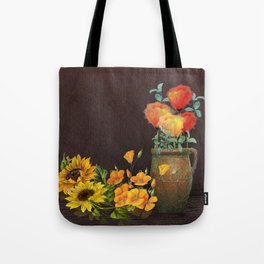 Watercolor Poppies and Golden Sunflowers Tote Bag