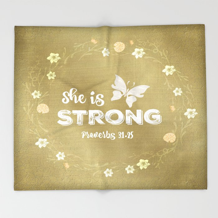 Proverbs She is Strong  Throw Blanket