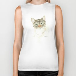 catitude - brown tabby cat Biker Tank