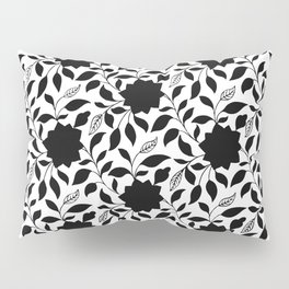 Vintage Floral in Black and White Pillow Sham