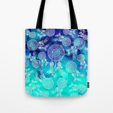 Modern boho white hand drawn dreamcatchers feathers pattern on blue turquoise watercolor Tote Bag