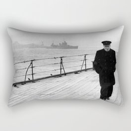 Winston Churchill At Sea Rectangular Pillow