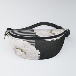 White Peony Black Pinstripe Chic Fanny Pack