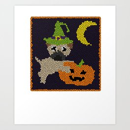 Cute Halloween Pug in Stained Glass Style Art Print