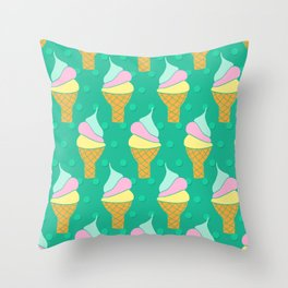 Retro Soft Ice Cream Cones Throw Pillow
