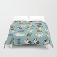 cats Duvet Covers featuring Cats! by DoggieDrawings