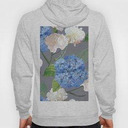 Blue Hydrangea on Gray Hoody