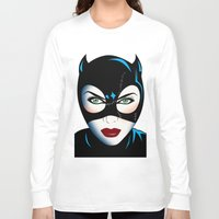 catwoman Long Sleeve T-shirts featuring Catwoman by mark ashkenazi
